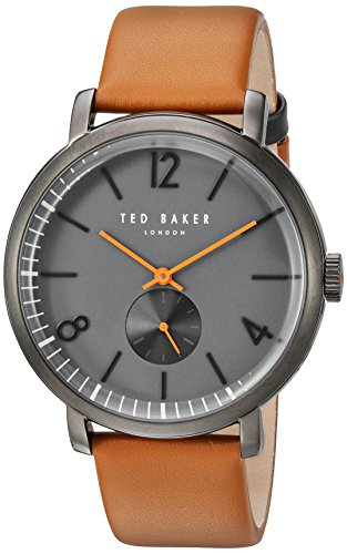 Ted Baker Men's 'OLIVER' Quartz Stainless Steel and Leather Dress Watch, Color Brown