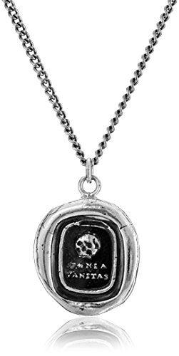"Pyrrha Talisman Men's Sterling Silver Skull Pendant Necklace, 22"""