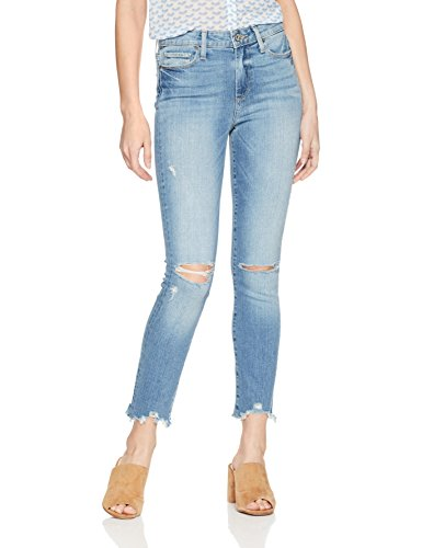 PAIGE Women's Hoxton Ankle Peg Jeans, Janis Destructed Worn in Hem, 28