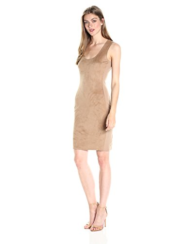 A|X Armani Exchange Women's Scoop Neck Sleeveless Suede Above The Knee Dress, Tan, X-Small