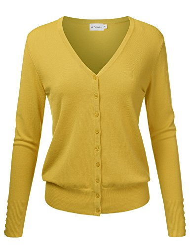 JJ Perfection Women's V-Neck Button Down Long Sleeve Knit Cardigan Sweater Mustard M