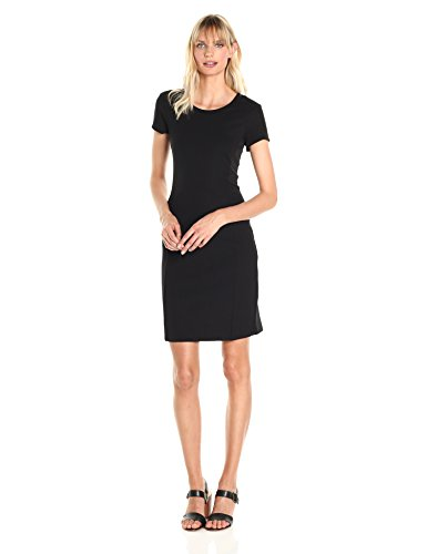 A|X Armani Exchange Women's Basic Crew Neck Short Sleeve Above The Knee Dress, Black, Large