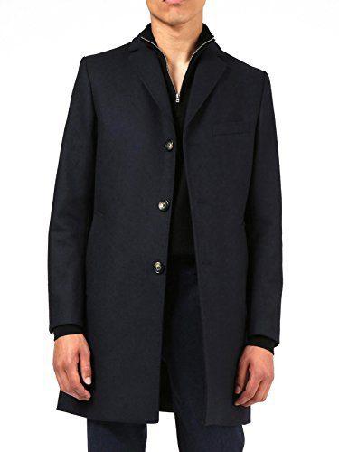 J.Lindeberg Men's Wolger Compact Melton Coat, JL Navy, 46