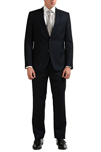 Versace Collection Silk Wool Black Two Button Men's Suit US 38 IT 48;