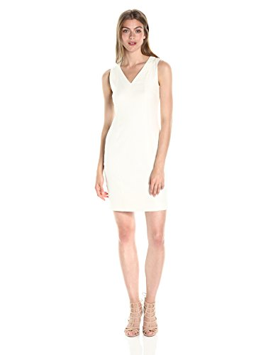 A|X Armani Exchange Women's V Neck Short Sleeved Linen Mini Shift Dress, White, 4