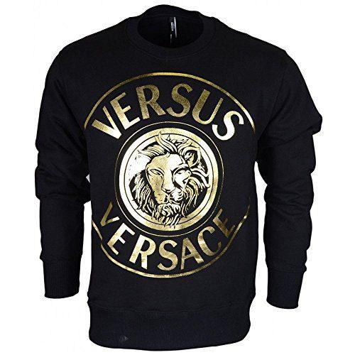 Versace Cotton Round Neck Black/Gold Sweatshirt S Black