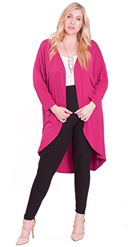 Hot Ginger Women's Plus Size Long Sleeve Ribbed Open Front Cardigan, Fuchsia, 3X