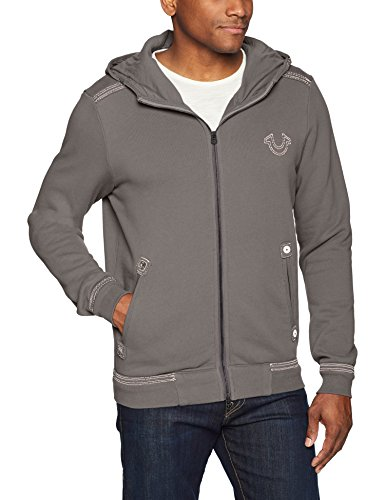True Religion Men's Hoodie with QT Stitch, Charcoal Grey, XL