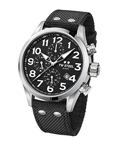 TW Steel Men's 'Volante' Quartz Stainless Steel and Nylon Dress Watch, Color:Black