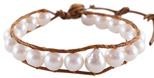 Chan Luu White Freshwater Cultured Baroque Pearls on a Tan Henna Leather Bracelet