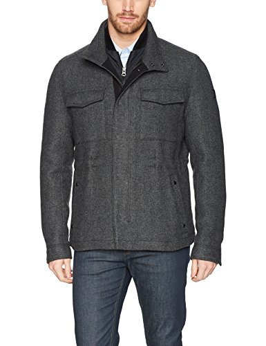 BOSS Orange Men's Ofalcon Modern Wool Field Jacket, Charcoal, 36R