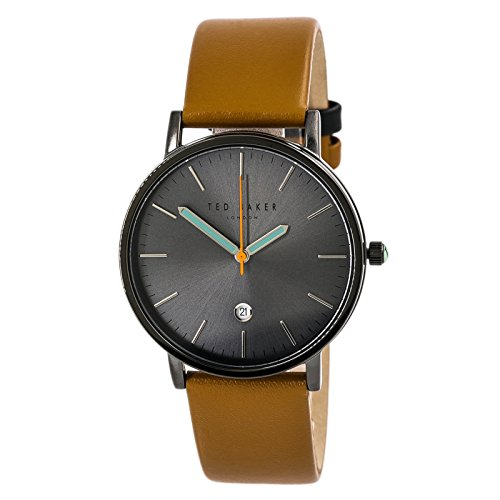 Ted Baker London Men's Black Analog Steel Watch Brown Leather Strap