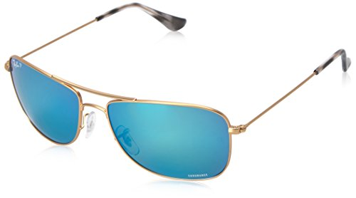 Ray-Ban Men's Chromance Polarized Sunglasses, Gold/Blue Mirror, 59 mm