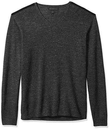 John Varvatos Men's V-Neck Sweater, Indigo, Medium