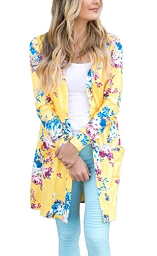 Hibluco Women's Casual Floral Long Open Cardigan Lightweight Jacket Outwear (XX-Large, Yellow)