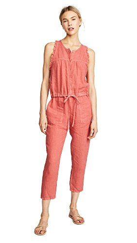 Enza Costa Women's Sleeveless Ruffle Jumpsuit, Persimmon, 3