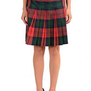 Versace Versus 100% Wool Multi-Color Checkered Women's Pleated Skirt US M IT 42