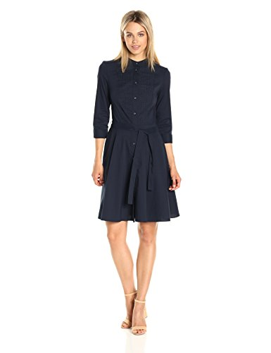 A|X Armani Exchange Women's Half Sleeve Eyelet Bib Button up Woven Dress, Navy, 8