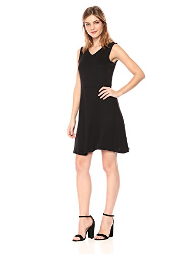 A|X Armani Exchange Women's V Neck Fit and Flare Dress, Black, S