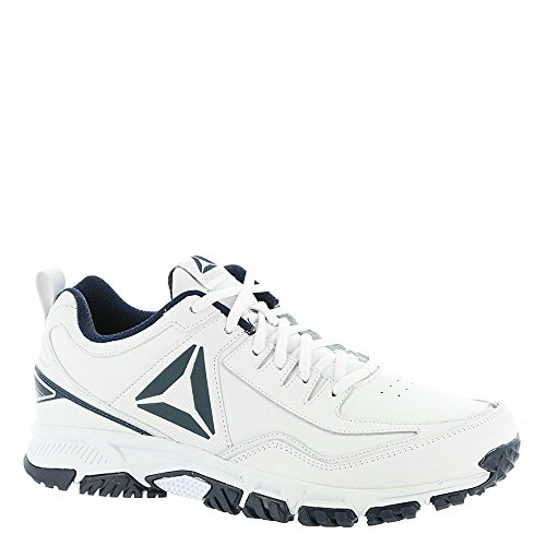 Reebok Men's Ridgerider Leather Sneaker, White/Coll. Navy-Wide e, 12 4E US