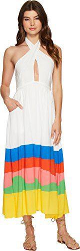 Mara Hoffman Women's Beach Ball Halter Midi Dress Cover up, Beachball Rainbow/Multi, Small