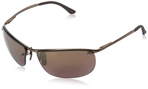 Ray-Ban Chromance Lens Wrap Sunglasses, Brown Frame/Brown Mirror Lens (197/6B)
