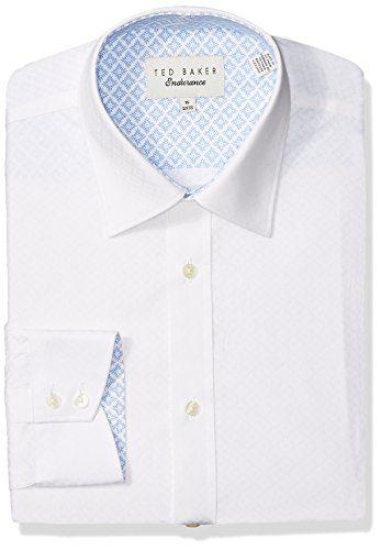 """Ted Baker Men's Snaper Slim Fit Dress Shirt, White, 16.5"""" Neck 32-33"""" Sleeve"""