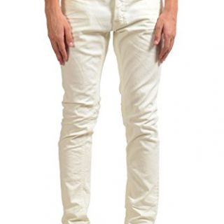 Just Cavalli Men's Off White Stretch Slim Jeans US 32 IT 48