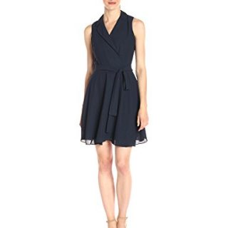 A|X Armani Exchange Women's Sleeveless Collared Belted Woven Dress, Navy, 2