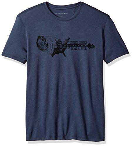 John Varvatos Men's United States Rock N Roll Graphic Tee, Twilight Blue, Extra Large