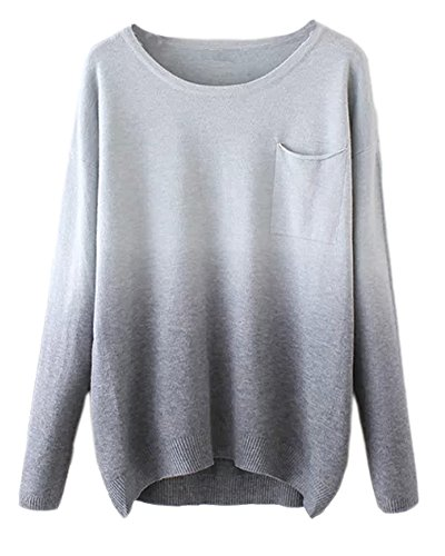 Urban CoCo Women's Fashion Gradient Ramp Pullover Sweater (Gray)
