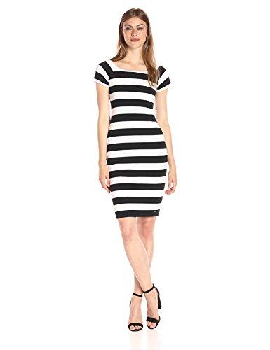 A X Armani Exchange Women's Scoop Neck Cap Sleeve Knee Length Body Con Striped Dress, Black/White, Medium