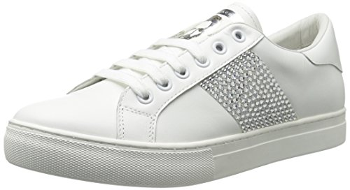 Marc Jacobs Women's Empire Strass Low Top Sneaker, White/Silver, 39 M EU (9 US)
