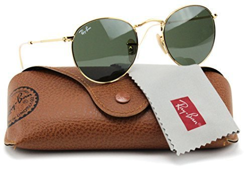 Ray-Ban Round Sunglasses Arista Gold / Crystal Green Lens 50mm