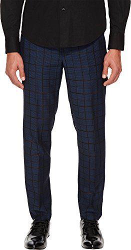 Versace Collection Men's Windowpane Pants Blue/Black 46