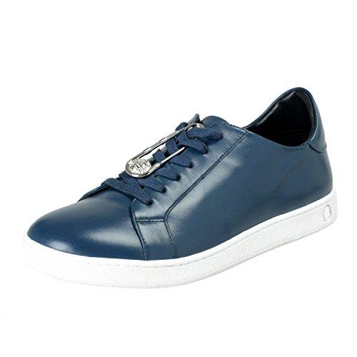 Versace Versus Men's Blue Leather Fashion Sneakers Shoes Sz US 12 IT 45