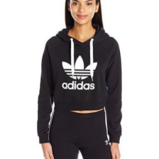 adidas Originals Women's Originals Crop Hoodie, Black/White, X-Large
