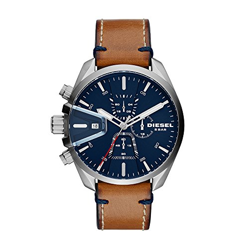 Diesel Men's 'Ms9 Chrono' Quartz Stainless Steel and Leather Casual Watch, Color:Brown (Model: DZ4470)