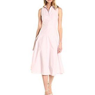 A|X Armani Exchange Women's Collared Button up Sleeveless Midi Dress, Pink, 8