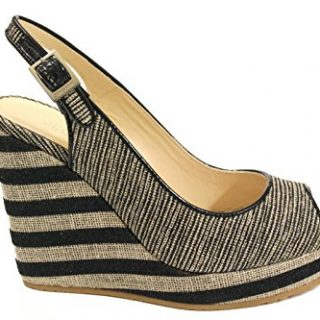 JIMMY CHOO Women's Provawoio Beige/Black Fabric Wedges