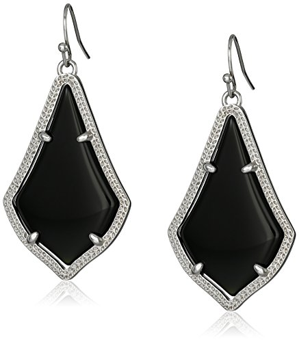 "Kendra Scott""Signature"" Alex Rhodium plated Black Glass Drop Earrings"