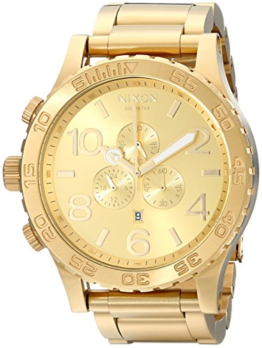 Nixon 51-30 Chrono. All Gold Men's Watch (51mm. Gold Watch Face/25mm Gold Stainless Steel Band)