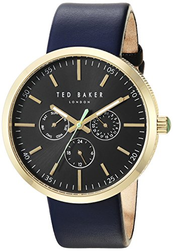 Ted Baker Men's 'JACK' Quartz Stainless Steel and Leather Dress Watch, Color Blue