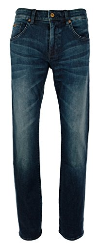 Hugo Boss Men's Green Label C-Maine Regular Fit Stretch Denim Jeans (40Wx32L, Navy)