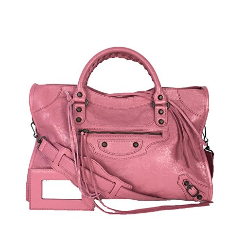 Balenciaga Classic Leather City Tote Bag, Rose Hortensia