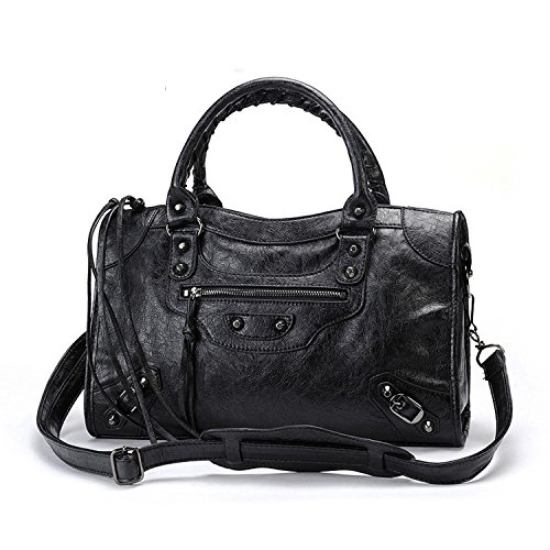 Gold-Tech New Women Leather Black Studed Motorcycle Bags 38cm Medium Size Shoulder Bag 9 Colors (Black)