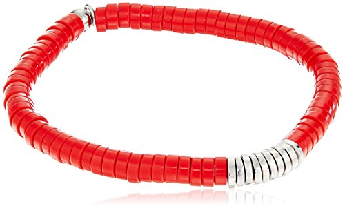 Tateossian Silver Melted discs Recon Coral Discs Bamboo Red Large Bracelet