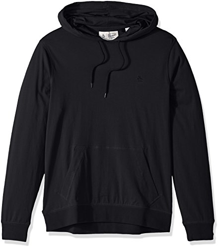 Original Penguin Men's Pima Jersey Hoodie, True Black, Large