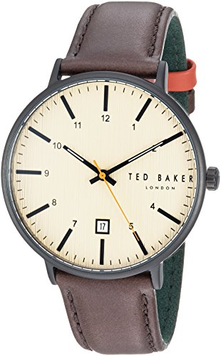 Ted Baker Men's 'Harris' Quartz Stainless Steel and Leather Casual Watch, Color Brown