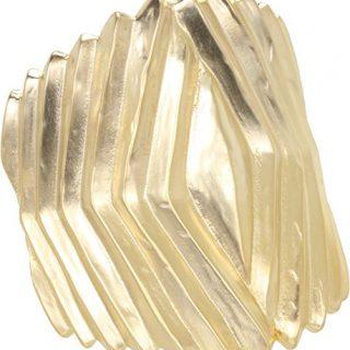 Kenneth Jay Lane Satin Gold Ribbed Hinged Cuff Bracelet